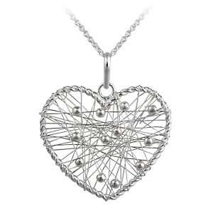 Sterling Silver Heart Shaped Dreamcatcher Pendant