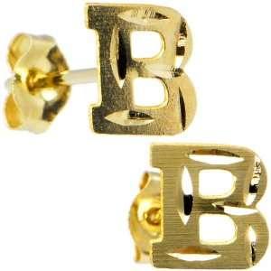 14K Yellow Gold Initial B Stud Earrings Jewelry