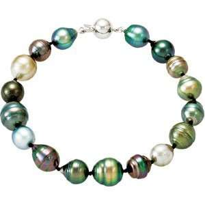 Gold 08.00 10.00Mm/8 18 Tahitian Cultured Pearl Necklace Bracelet