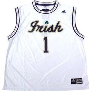 Adidas Notre Dame Fighting Irish #1 White Replica Basketball