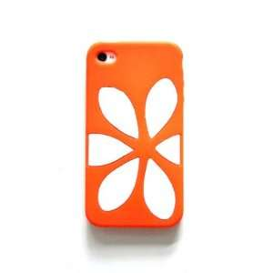 Orange and White Silicone Flower Design Skin Case Cover