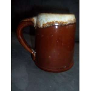 Antique Monmouth Marcrest Brown Drip Pottery Large Tankard Mug Stein 5