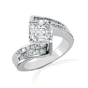 1.30 Ct Asscher Cut Diamond Engagement Ring Swirl Channel