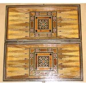 Wood Mosaic 8.5x8.5 Backgammon Board Game Set Large Toys & Games
