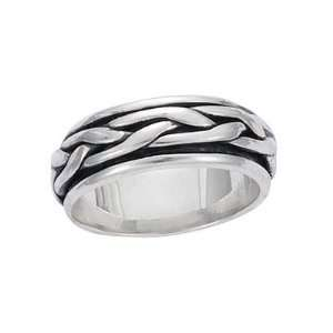 Sterling Silver Braided Spinning Band Ring   Size 8 Jewelry