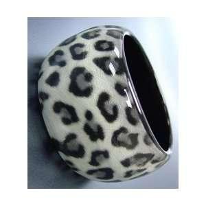 Leopard chunky bangle bracelet gray leopard print