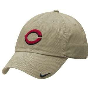 Cincinnati Reds Khaki Adjustable Stadium Baseball Cap By Nike