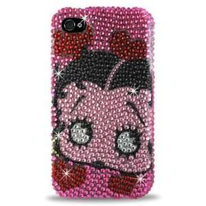 IPhone 4 4S Betty Boop B30 Face W/Hearts PINK Bling Diamond Hard Case