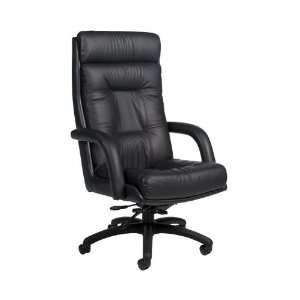 Leather High Back Executive Chair Black Leather/Black Frame Office