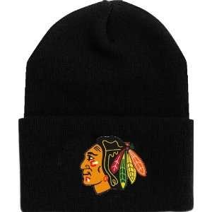 CHICAGO BLACKHAWKS NHL CUFFED Knit Beanie Hat YOUTH BLACK
