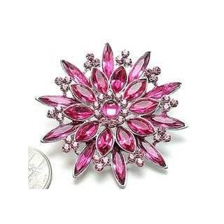 Austrian Rhinestone Silver Tone Flower Brooch Pin Jewelry
