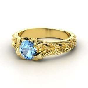 Rose and Thorn Ring, Round Blue Topaz 14K Yellow Gold Ring Jewelry