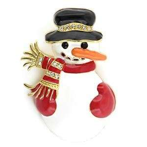 Holiday Snowman Clear Crystal White Metal Gold Brooches AM Jewelry