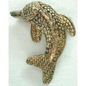 Vintage Inspired Gold Tone Dolphin Animal Pin Brooch
