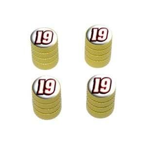 Number Nineteen   Tire Rim Wheel Valve Stem Caps   Yellow Automotive