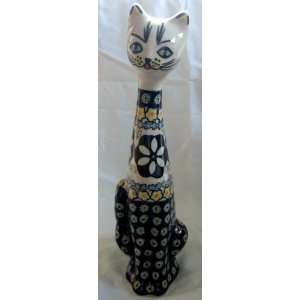 Polish Pottery 9 High Cat Statue Figurine Limited Edition