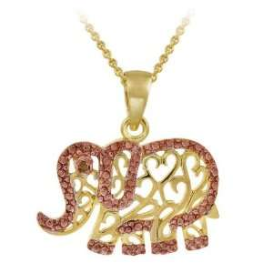 and Rose Gold over Silver Champagne Diamond Elephant Necklace Jewelry