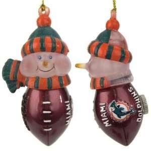 LED Lighted Football Snowmen Christmas Ornaments