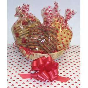 Valentines Day Classic Cookie Basket with no Handle Heart Wrapping