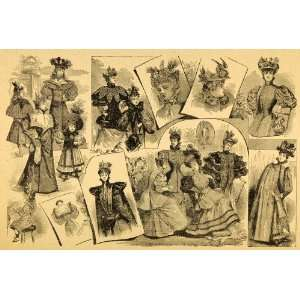 1894 Print Victorian Women Hats GREAT Costume Fashion