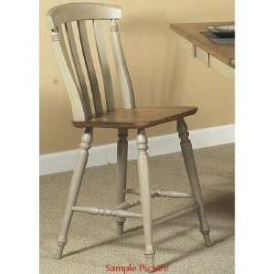 Counter Height Chair in Distressed Driftwood and Taupe: Furniture