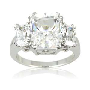 Sterling Silver Cubic Zirconia Ladies Ring, Size 8