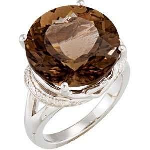 Sterling Silver Genune Smoky Quartz Ring 16x16mm   JewelryWeb Jewelry
