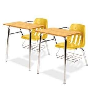 9400 Classic Series Chair Desks, Squash, Medium Oak Laminate Top, 2