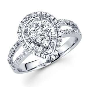 Diamond Anniversary Pear Shape Ring 18k White Gold Fancy Band (0.83ct