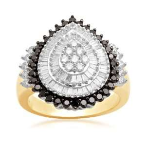 10K Yellow Gold Black and White Diamond Pear Shape Ring (1