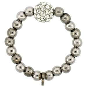 Sterling Silver 7 in. Stretchable Bead Ring w/ Swarovski Crystal Disco