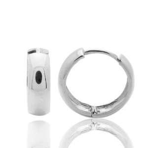 14K Gold Huggie Hoop Earrings 5mm, 12mm Diameter White Gold Domed Hoop
