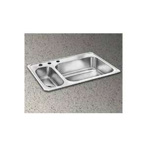 33 Top Mount Double Bowl Stainless Steel Sink with 20 Gauge, 3