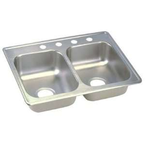 19 Top Mount Stainless Steel Double Sink with Three Faucet Holes