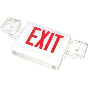 Combo Exit Emergency Light,White Case/Housing,RED letters
