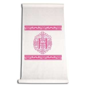 Feet by 36 Inch Aisle Runner, Fancy Font Letter H, White with Hot Pink