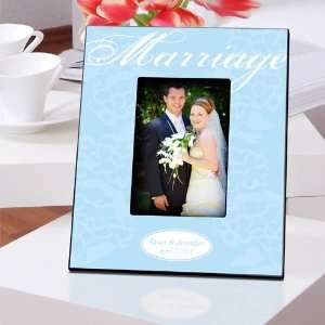 Wedding Favors Blue with White Marriage Picture Frame