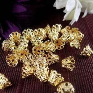 100pcs Gold Plated Filligree Flower Cup Shape Bead Caps