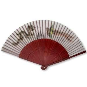 Red Bamboo Wood Oriental Silk Folding Fan