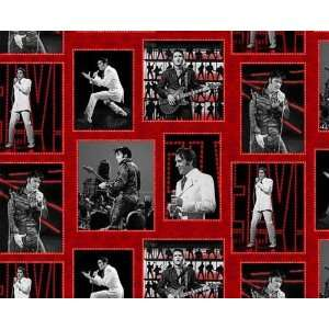 45 Wide Elvis 68 Art Frames Black/Red Fabric By The Yard