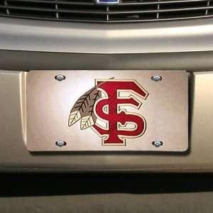 Florida State Seminoles (FSU) Silver Mirror License Plate W/Garnet FS