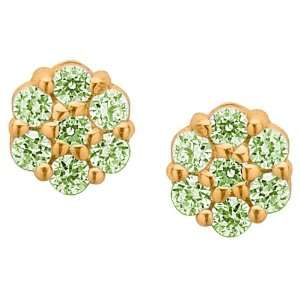 Emerald Green Cubic Zirconia Flower Cluster 14K Yellow Gold Screw Back