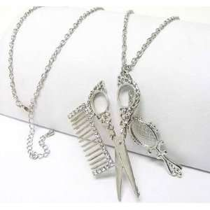 Hair Stylist Crystal Scissors Comb Long Necklace Beauty