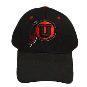 FITTED CAP HAT SIZE 7 1/4 UTAH UTES BLACK WOOL NEW