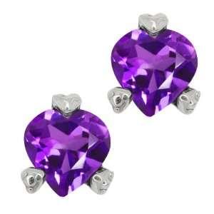 48 Ct Heart Shape Purple Amethyst Sterling Silver Earrings Jewelry