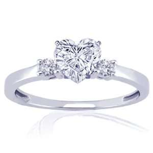 0.60 Ct Heart Shaped Diamond Engagement Ring SI1 E GIA