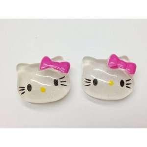 5pc Hot Pink Kitty Cat Flat Back Resin Cabochons Npk90