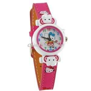 Hello Kitty Watch Dial Slim PU Leather Watchband Wristwatch Pink