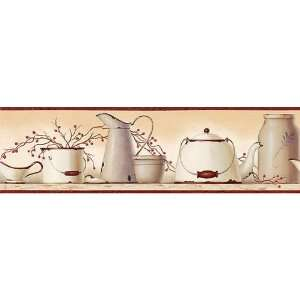 Burgundy Country Enamelware Wallpaper Border: Kitchen & Dining