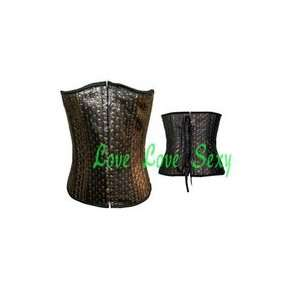 leather corset back lace up boned corset ladies costume sexy bustier